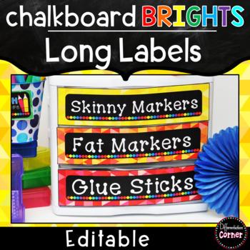 Bright Chalkboard Labels Editable
