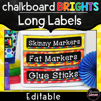 Bright Chalkboard Labels Editable