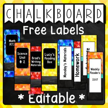 Bright Chalkboard Labels Editable FREEBIE