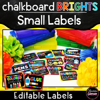 Bright Chalkboard Labels with pictures Editable