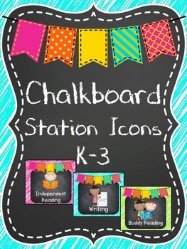 Bright Chalkboard Literacy Station Icons