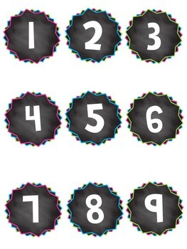 Bright Chalkboard Number Labels