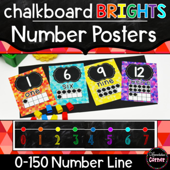 Bright  Chalkboard Number Posters and Number Line