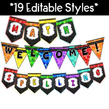 Bright Chalkboard Pennant Banners Editable
