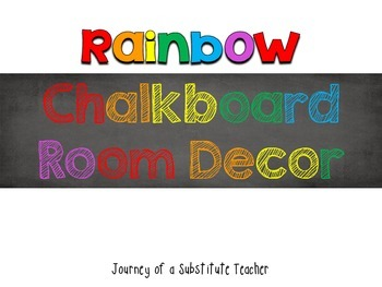 Rainbow Chalkboard Room Decor Pack