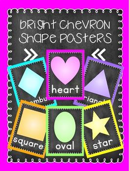 Bright Chalkboard Shape Posters