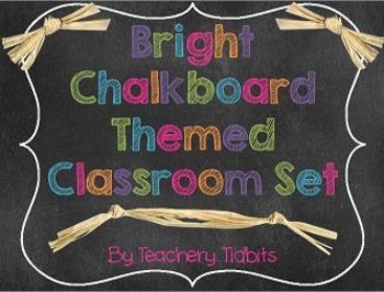 Bright Chalkboard Themed Classroom Set