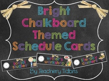 Bright Chalkboard Themed Schedule Cards