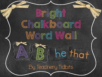 Bright Chalkboard Themed Word Wall {EDITABLE}
