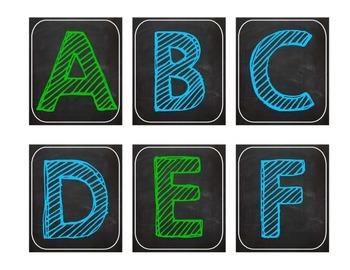 Bright Chalkboard Word Wall Letters