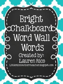Bright Chevron Chalkboard Word Wall Words