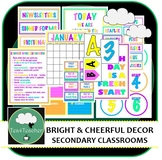 Bright & Cheerful Colours Décor Set for Secondary Classrooms– 110+ Signs Posters