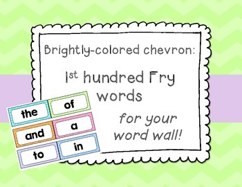 Bright Chevron 1st Hundred Fry List Word Wall Cards