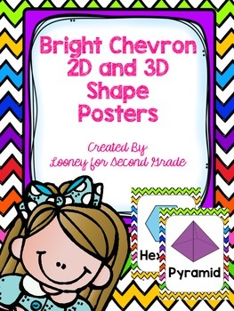 Bright Chevron 2D and 3D Shape Posters