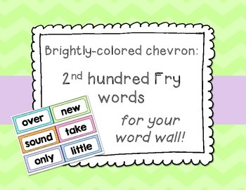 Bright Chevron 2nd Hundred Fry List Word Wall Cards