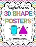 Bright Chevron 3D Shape Posters