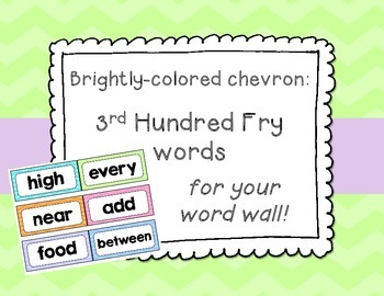 Bright Chevron 3rd Hundred Fry List Word Wall Cards