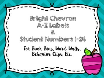 Bright Chevron A-Z Labels & Numbers Labels 1-24 + Blank Labels!