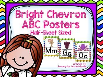 Bright Chevron ABC Posters - Half Page Sized