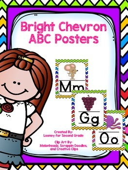 Bright Chevron ABC Posters - Large