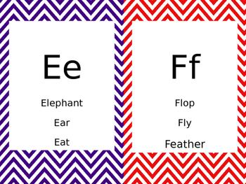 Bright Chevron Alphabet Cards