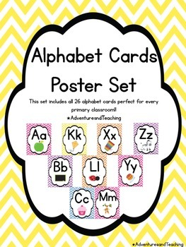 Bright Chevron Alphabet Cards Poster Set