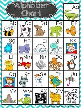 Bright Chevron Alphabet Chart FREEBIE