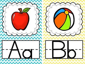 Bright Chevron Alphabet Posters