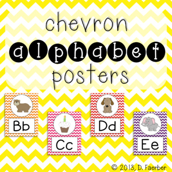 Bright Chevron Alphabet Posters (Full-Page and Half-Page)