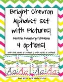 Bright Chevron Alphabet Set {Modern Manuscript / D'Nealian}