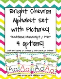 Bright Chevron Alphabet Set {Traditional Manuscript / Print}
