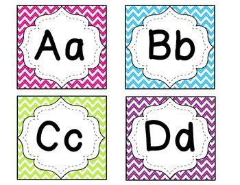 Bright Chevron Alphabet Wordwall Cards