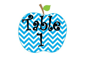 Bright Chevron Apple Table Number Signs
