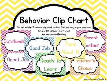 Bright Chevron Behavior Clip Chart Poster Set