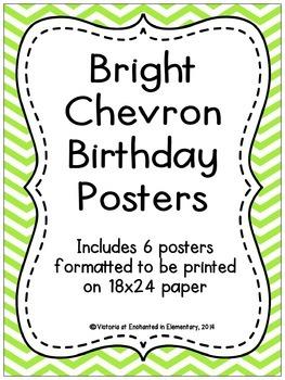 Bright Chevron Birthday Posters