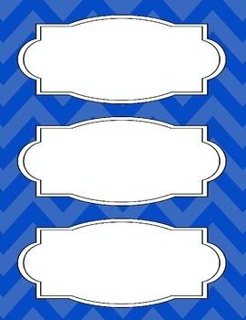 Bright Chevron Blank Labels *BLUE*