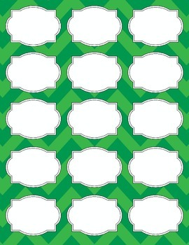 Bright Chevron Blank Labels *GREEN*
