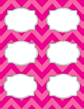 Bright Chevron Blank Labels *PINK*