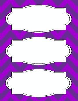 Bright Chevron Blank Labels *PURPLE*
