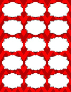 Bright Chevron Blank Labels *RED*