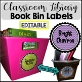 Book Bin Labels for Classroom Library Bright Chevron -EDITABLE-