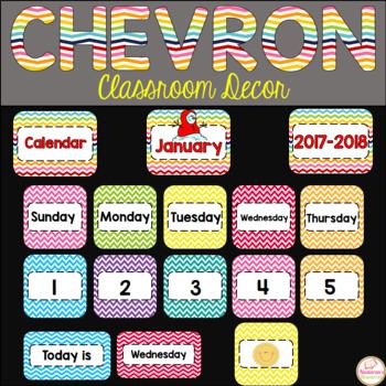 Bright Chevron Classroom Calendar 2017-2018 - Chevron Classroom Decor