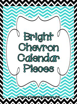 Bright Chevron Calendar Numbers, Months and Days