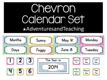 Bright Chevron Calendar Set