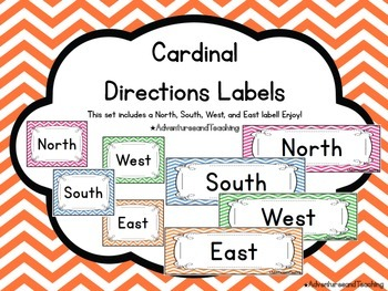 Bright Chevron Cardinal Directions Labels FREEBIE