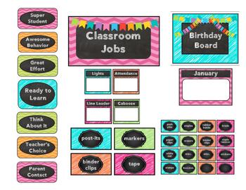 Bright Chevron Chalkboard Classroom Decor Set