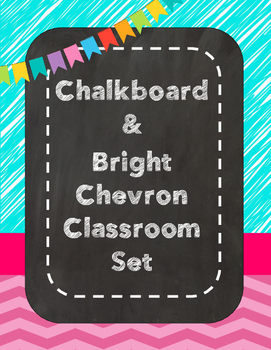 Bright Chevron Chalkboard Classroom Decor Set