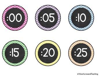 Bright Chevron Chalkboard Flower Clock Labels