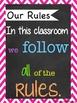 Bright Chevron Chalkboard Subway Art Classroom Rules
