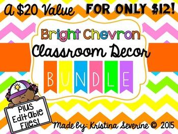 Bright Chevron Classroom Decor Set BUNDLE